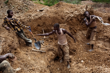 Men work in the mines ouotside of Bagega. they dig deep to find the rock and then crush these rocks to find the gold ore. Inside the rocks there is also deposits of other metals, one being lead which is poisoning many of the children in the village